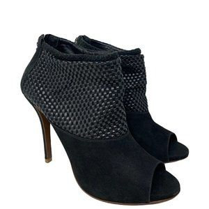 Schutz Black Leather & Suede Peep Toe Ankle Boots US Size 8